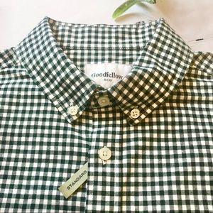 Men's Goodfellow Green/White Checkered Button Down